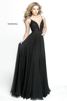 326ba428dc Shop deep v-neck designer prom dresses at PromGirl. Beaded-bodice open-back  Sherri Hill dresses with jeweled waists and long a-line chiffon skirts.