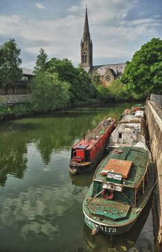 Old river barges in Bath, Somerset, England
