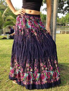Gypsy Floral Skirt- Summer Lightweight -Boho-Full Length, Elasticated Waist -Navy by shopjohnny on Etsy https://www.etsy.com/listing/205888621/gypsy-floral-skirt-summer-lightweight