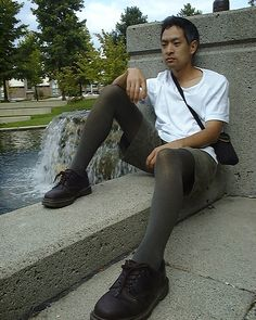 e249daad86770 Brown Dr Martens, Tights Outfit, Leggings Fashion, Dr Martens Outfit, Mens  Tights