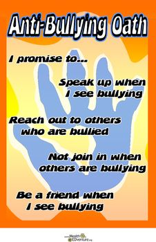 This pledge is an excellent one to display in your classroom as a reminder to students about the way to treat others and things they can do to prevent bullying behaviors.11 in. x 17 in. poster.Find over 330 learning activities at the Health EDventure store.                                                                                                                                                                                 More