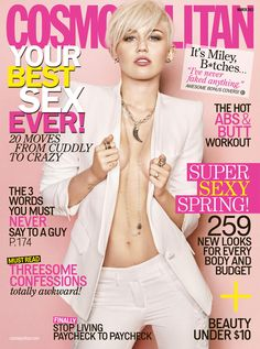 Miley looks smokin' hot on the March 2013 cover of 'Cosmopolitan' magazine. We have a feeling fiance Liam Hemsworth is loving this new photo of Miley braless! Miley Cyrus' Cosmopolitan cover for the March 2013 issue leaked online on Jan. Selena Gomez Miley Cyrus, Miley Cyrus 2013, Beyonce, Rihanna, V Magazine, Magazine Covers, Magazine Photos, Digital Magazine, Magazine Design