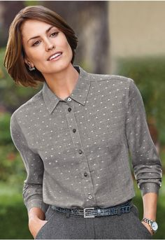 A superbly soft twill shirt with subtle silver spots in the weave. Styled with a double yoke, bust dart shaping and a curved hem with side slits. Twill Shirt, Satin Blouses, Collar Blouse, Floral Stripe, Printed Blouse, Shirt Dress, Long Sleeve, Mens Tops, Shirts