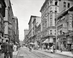 Shopping Providence, Westminster Street, Providence, Rhode Island, circa 1903.