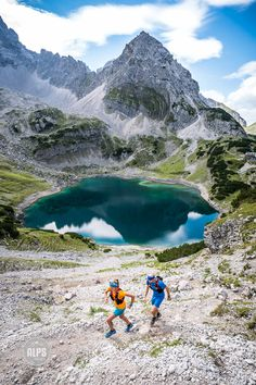 Trail running above Garmisch in the Zugspitze area, Germany