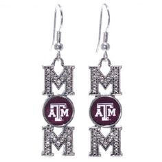 Texas AM Aggies 2 Silver Tone Fish Hook Earrings Featuring Mom Written with an Texas AM Logo  Price : $11.99 http://www.janddjewelryandmore.com/Aggies-Silver-Earrings-Featuring-Written/dp/B00K2MSLWK