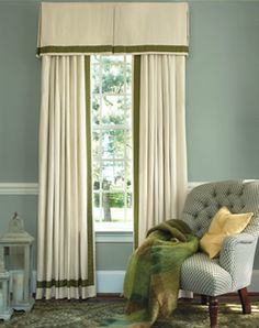 box-pleat valance with coordinating panels with a trim detail