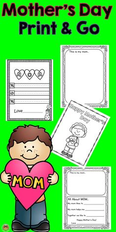 """Mothers Day no prep activities just print and go with these simple Mothers Day activities.  All moms love to get something special on Mother's Day from their children. They especially like when children write out special messages. These activities are a great way to say """"I love you"""". This packet includes 11 pages of FUN!   -Writing Paper  -Word Find  -Mystery Message -Mother's Day Mini Book  -Card  -Coloring Sheets   -Mom Questionnaire   -Acrostic Poems"""