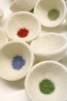 Roly Dot Bowl Felted Wool Cream and Colored Dot by papaververt, $24.00
