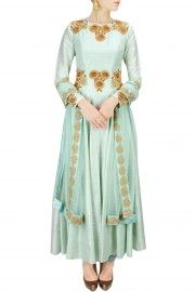 Mint green floral embroidered anarkali set