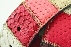 Belt in #pink piton leather, manufactured in Milan, Italy #Branni1970 #Leather #MadeInItaly