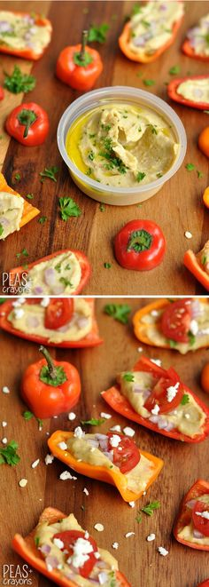 Healthy Hummus Party Peppers Peas and Crayons