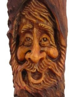 Wood Tree Spirit Carving Log Home Gnome Cabin Art Forest Face Wizard Hobbit Elf | eBay