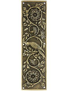 Tropical Parrot Push Plate In Antique-By-Hand Finish Tropical Birds, Tropical Flowers, Door Kick Plates, Antique Hardware, Antique Doors, Steampunk House, Madhubani Painting, Ceiling Medallions, Animal Jewelry