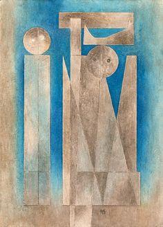 """Habitación/Estudio: pintura de Carlos Merida (1891-1984, Guatemala) - """"Duo"""""""