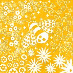 Mabel Fox - Thoughtful Interior Design, Enchanting Art prints and Scandi style homewares for your home Dandelion Drawing, Linocut Prints, Art Prints, Bee Illustration, Scandinavian Folk Art, Bee Art, Funny Tattoos, Naive Art, Scandi Style