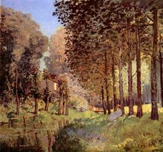 Rest at the river bank by Sisley