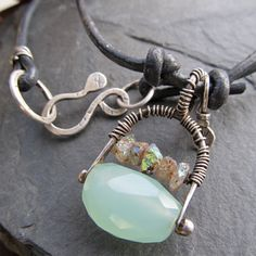 Necklace Wire wrapped Pendant sterling silver seafoam by artdi, $98.00