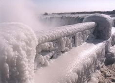 Frozen Railing at the Falls by Gerry Kennedy | The continual spray coats everything around the Falls, producing fantastic ice shapes. The ice on this railing was about 6-8 inches thick.