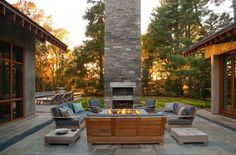A fire pit and fire place? Maybe it is a cold location.