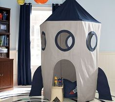I love the Rocket Tent Canopy on potterybarnkids.com. How hard would it be to make this out of pvc and fabric? Love the curtains in the back for Aiden's room btw. ;>