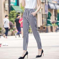 Summer chiffon harem pants feet long pants thin section seven yards wide leg pants striped casual pants pantyhose