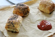 Chicken and Vegetable Sausage Rolls - Bake Play Smile Pastry Recipes, Cooking Recipes, Grilled Mushrooms, Sausage Rolls, High Calorie Meals, Energy Snacks, Savory Snacks, Vegetable Salad, Appetisers