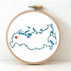 Russia Map Cross Stitch Pattern. Modern Embroidery от koekoek