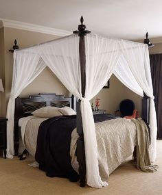 Keraton Dark Teak Four Poster Wooden Bed - another view of the same canopy