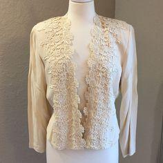 Wild Rose Lace Jacket Ivory Size 10  60% acetate and 40% rayon Wild Rose Jackets & Coats Blazers