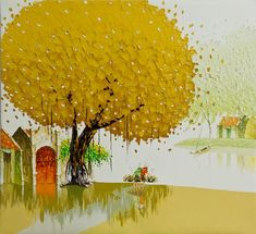 The Yellow Tree by the Artist Phan Thu Trang l #landscapes #painting