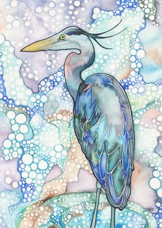 Great Blue Heron 5 x 7 print of bird от DeepColouredWater на Etsy