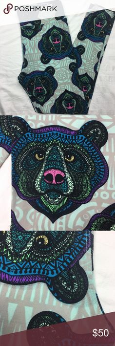 LuLaRoe Mosaic Bears Tall and Curvy Major Unicorn Mosaic bears. Slight smudge in printing in one spot of leggings. See last pic for details. Fits 12-18. Like new LuLaRoe Pants Leggings