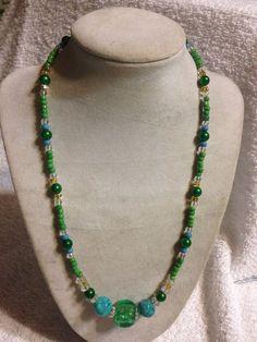 G98 Handmade Turquiose Glass and Glass Bead Necklace #Handmade #StrandString