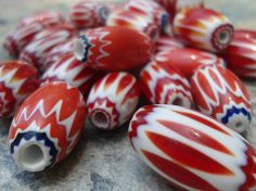Chevron Beads Glass Layered Beads20 to 24 mm by RedEarthBeads, $3.50