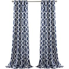 Trellis Grommet Curtain Panel in Navy (Set of 2) at Joss and Main