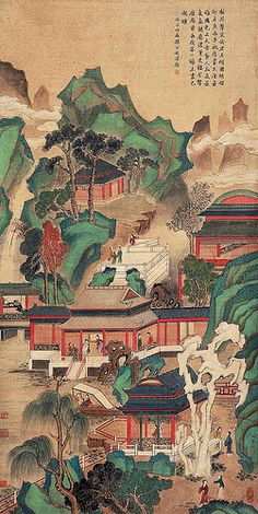 An artwork by China's one of the best Meticulous brush painting artists expert Chou Ying (仇英) (1494-1552)