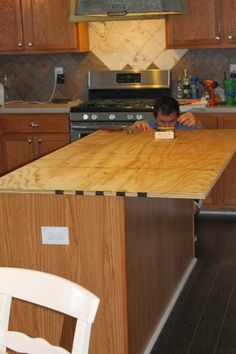Remodeling Kitchen Countertops install new plywood base for faux reclaimed wood countertops, The Ragged Wren on Remodelaholic Diy Kitchen Island, Kitchen Redo, New Kitchen, Kitchen Design, Kitchen Cabinets, Kitchen Makeovers, White Cabinets, Kitchen Flooring, Wood Counter Tops Kitchen