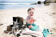 www.MajicMomentsPhotography.com Baby mermaid photoshoot on the beach! SO cute! 8 months old #mermaid #babygirl