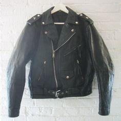 Black Leather Jacket 80s Vintage Motorcycle by KingArtsAndVintage, $160.00