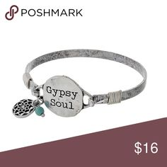 "🆕""Gypsy Soul"" silver tone bracelet Silver tone bangle bracelet  Hammered circle focal stamped with ""Gypsy Soul"" and accent charms  ⭐️NEW IN PACKAGING  ⭐️SHIPS SAME/NEXT DAY ⭐️15% DISCOUNT ON BUNDLES OF 2+ ⭐️FREE GIFT W/PURCHASE OVER $40 Jewelry Bracelets"