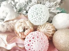 """PASTEL & GOLD BAUBLE SET  Enjoy this beautiful glass bauble set with hints of mint, pink, gold and charcoal.     Comes as a set of 12  Each bauble measures 3.5""""  Glass  www.whitelilacinc.com To SHOP this item click the visit button!"""