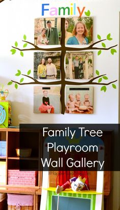 Family Tree Playroom Gallery Wall #ShutterflyDecor #sponsored- make a gallery wall in the playroom with photos of grandparents or family members