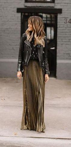Fall fashion   Khaki pleated skirt and leather jacket