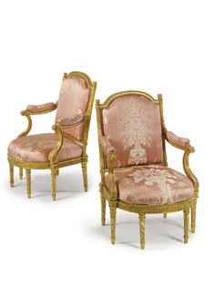 A pair of Louis XVI carved giltwood fauteuils  circa 1780,  stamped H. Jacob