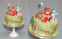 In the Night Garden Cake with hand modelled Makka Pakka, Upsy Daisy and Iggle Piggle cake toppers.