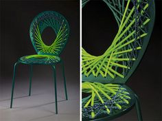 String-Art Chair by Jessica Carnevale. Hippie Bedroom Decor, Arte Linear, Thread Art, Cool Chairs, Lounge Chairs, Bookbinding, Installation Art, Art Installations, Diy Design