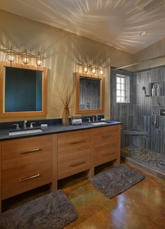 Transitional Master Bathroom Remodel With Cantilevered Bathroom Vanity  Cabinets, Quartz Bathroom Countertops, Accessible Roll In Shower For  Handicau2026
