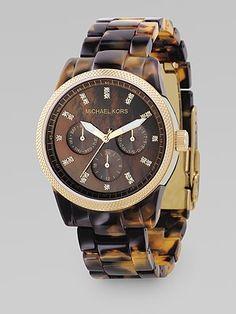 tortoise shell acrylic band, swarovski crystal & stainless steel watch