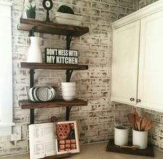 Find This Pin And More On Farmhouse Rustic Vintage Style I Love The Brick Back Splash